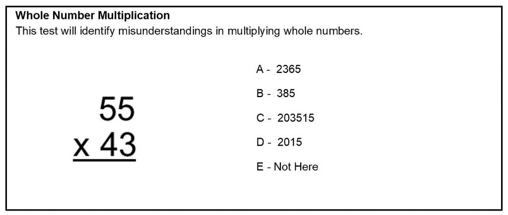Whole Number Multiplication Sample Question