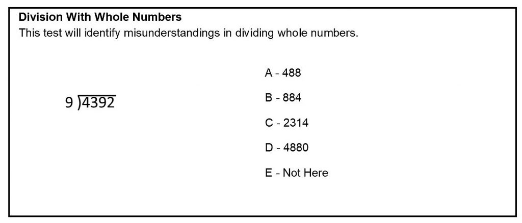 Division With Whole Numbers Sample Question