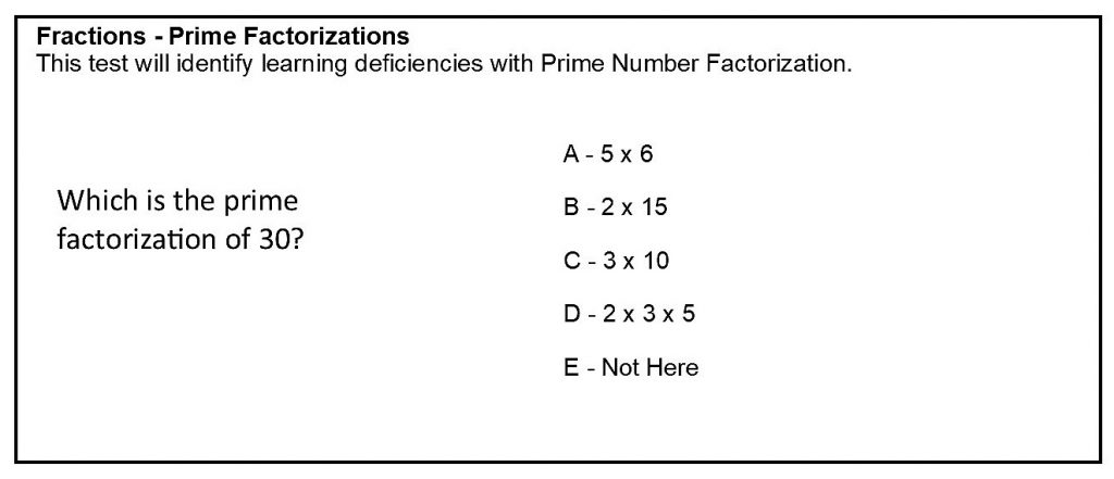 Fractions focusing on prime factorizations analysis test