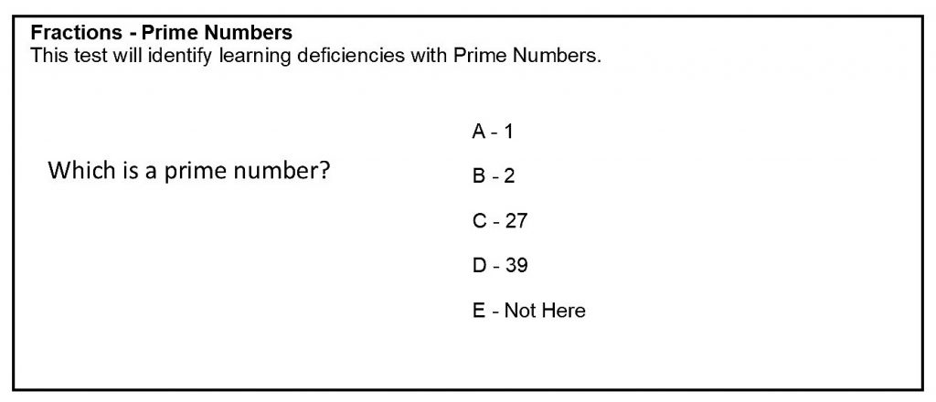 Fractions Prime Numbers Analysis Test