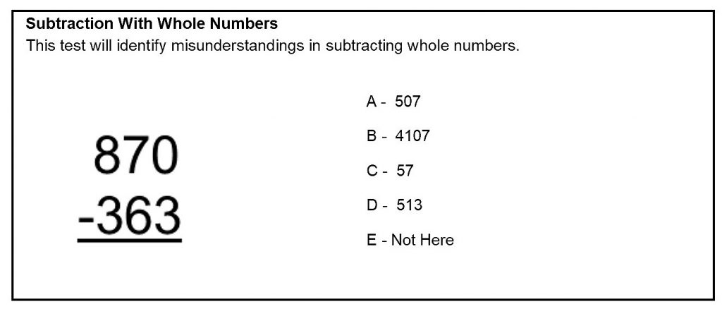 Subtraction With Whole Numbers Sample Test Question